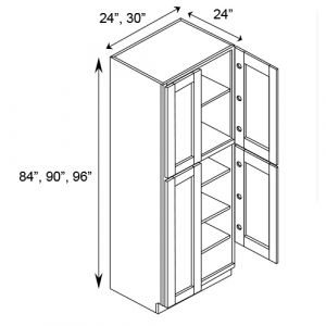 "2 Door Tall Pantry Cabinet w/o Drawer 30""W