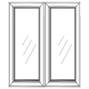 "2 Glass Doors w/ Textured Glass 33""W